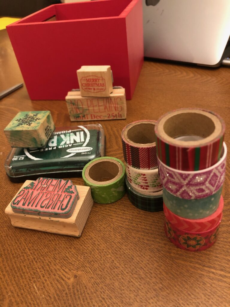 embellish gift tags with stamps & washi tape